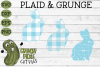 Plaid & Grunge Spring Easter Bunny 3 SVG Cut File example image 1