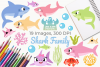 Shark Family Clipart, Instant Download Vector Art example image 1