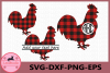 Cock Rooster Buffalo Plaid SVG, Farm svg, Animals, Rooster example image 1