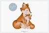 Mummy and Baby Fox - Sublimation PNG Clipart example image 1