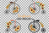 Sunflower bouquets high wheelers clip art. Floral bicycles example image 2