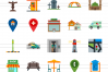 50 Town Flat Multicolor Icons example image 2