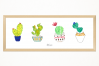 Handmade 4 little cactus art print, 45 x 15 cm, to decor an special place. Room decoration, deco, kitchen, living room. printing. Ready to print example image 1