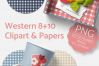 Western Clipart & Gingham Scrapbooking Papers PNG files example image 5