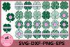 Clover Svg, Monogram4 Leaf Clover Svg, Shamrock Clover svg example image 1