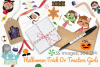 Halloween Trick Or Treaters Girls Clipart, Instant Download example image 4