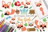Fox Girls Clipart, Instant Download Vector Art example image 1