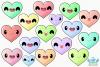 Kawaii Hearts Clipart, Instant Download Vector Art example image 2