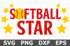 Softball Star - A Sports SVG Cut File example image 1