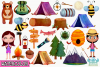 Camping Girls Watercolor Clipart, Instant Download example image 2