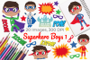 Superhero Boys 1 Clipart, Instant Download Vector Art example image 1