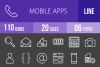 110 Mobile Apps Line Inverted Icons example image 1