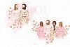 Bride And Maids Wedding Pink Gold Clip Art example image 2