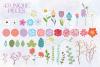 43 Piece Floral Flowers Clip Art Bundle example image 2