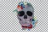 Floral skull watercolor decoration clip art. Skull shirt png example image 3