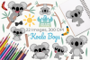 Koala Boys Clipart, Instant Download Vector Art example image 1