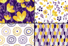 Purple and yellow floral seamless digital paper, patterns example image 2