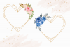 Heart Shaped Watercolor Flowers Frames, Geometric Gold Frame example image 7