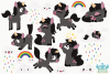 Black Unicorns Clipart, Instant Download Vector Art example image 3