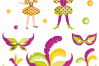 Mardi Gras mini set. Vector clip arts and seamless patterns. example image 2