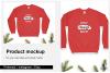 Christmas Sweatshirt Mockup / Gildan 18000 Red / Flat Lay example image 1