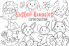 Easter Bunnies Digital Stamps example image 1