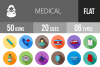 50 Medical Flat Long Shadow Icons example image 1
