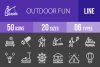 50 Outdoor Fun Line Inverted Icons example image 1
