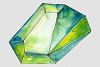 Crystals orange and green Watercolor png example image 5