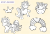 Cute Unicorns and Rainbows Digital Stamps example image 4