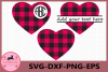 Monogram Hearts SVG, Heart SVG, Buffalo Plaid Svg example image 1
