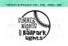 Summer Nights and Ballpark Lights Baseball SVG example image 2