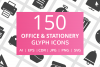 150 Office & Stationery Glyph Icons example image 1