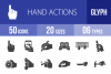 50 Hand Actions Glyph Icons example image 1