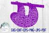 Sloth Mandala, Animal Mandala SVG Cut File example image 1