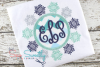 Christmas Monogram Snowflake Frame Applique Embroidery Desig example image 1