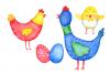 Watercolor Bright Chicks Clip Art  example image 2