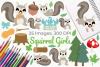 Squirrel Girls Clipart, Instant Download Vector Art example image 1