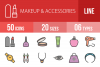 50 Makeup & Accessories Linear Multicolor Icons example image 1