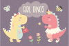Girl Dinos, digital clipart and paper set example image 1