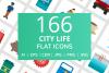 166 City Life Flat Icons example image 1