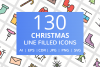 130 Christmas Filled Line Icons example image 1