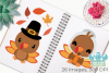 Thanksgiving Turkeys Clipart, Instant Download Vector Art example image 3