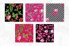 Black & Hot Pink Floral Tileable Digital Paper example image 2