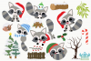 Christmas Raccoons Clipart, Instant Download Vector Art example image 2