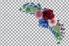 Colorful navy and burgundy floral watercolor wedding bouquet example image 4