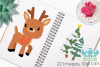 Christmas Reindeer Clipart, Instant Download Vector Art example image 3