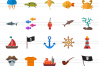 100 Pirate & Sea Flat Icons example image 2