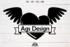 Heart Wing With Ribbon Svg Design example image 3