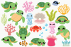 Turtles Clipart, Instant Download Vector Art, Commercial Use example image 2
